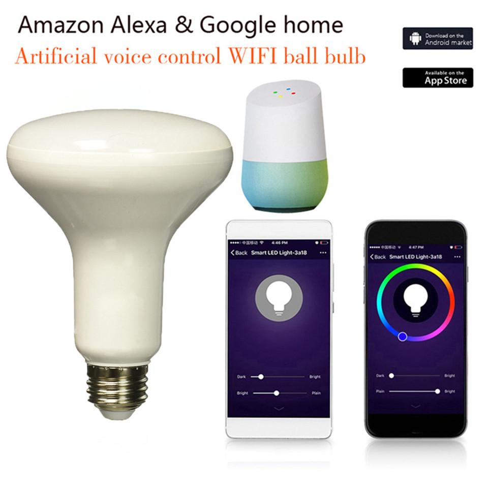 wifi bulb google home E27 led bulb alexa voice control rgbw bluetooth 7W intelligent led lights for smart home party dj led magic 7w e27 wifi rgbw led light bulb smart wireless remote control le lamp color change dimmable for home hotel ios android