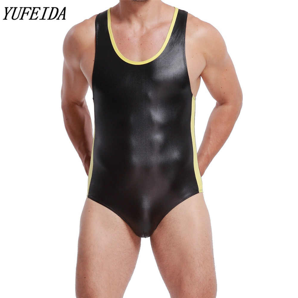 Męskie body Patchwork Faux Leather kombinezony Sexy Wrestling podkoszulki Strecth Gay Underwears Jockstrap Tanks Gay Clubwear