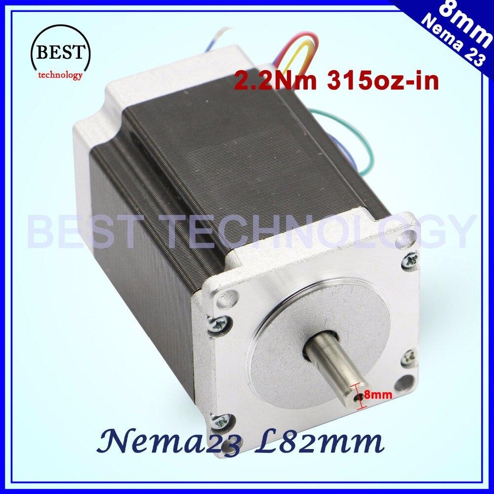 NEMA 23 CNC motor paso a paso 57x82mm 3A 2.2N.m D = 8mm 6,35mm 315Oz-in Nema23 enrutador CNC fresadora de Grabado de la máquina de 3D impresora