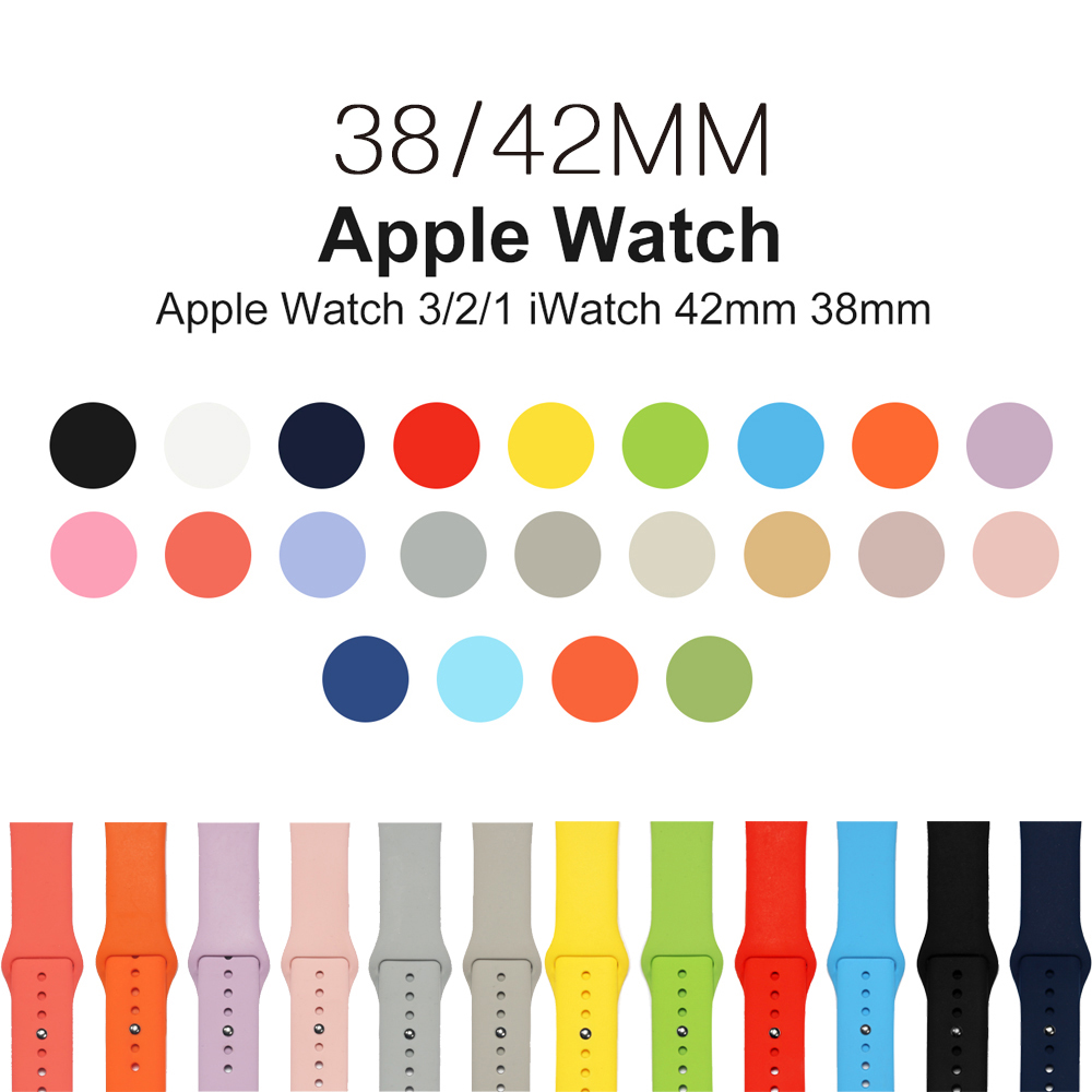 Sport Silicone strap For Apple Watch band 42mm/38mm Iwatch 3/2/1 bracelet Wrist Replacement Rubber watchband with metal Buckle