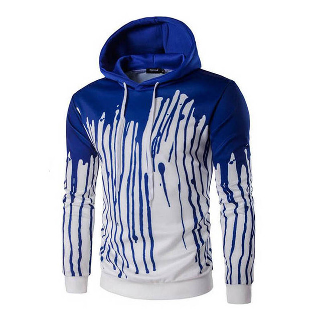 2017 Men's Hoodies Printing Ink Hooded Pullover Sweatshirts Men Red Blue Casual Male Hoodies Long Sleeves Fashion Men Tracksuits