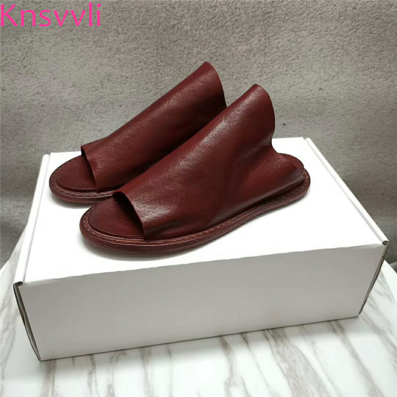 Knsvvli Wine Red Genuine Leather Flat Slippers Women Summer Peep Toe Casual Comfort Shoes Woman Retro Mules Shoes Mujer 2019Knsvvli Wine Red Genuine Leather Flat Slippers Women Summer Peep Toe Casual Comfort Shoes Woman Retro Mules Shoes Mujer 2019