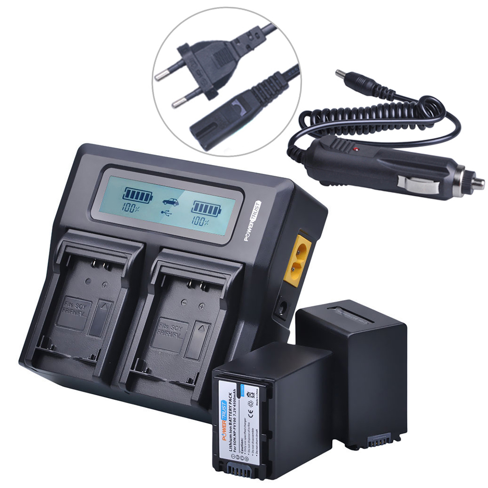 2X 4500Mah Np Fv100 Npfv100 Fv100 Np-Fv100 Battery + Liquid crystal display Fast Charger For Sony Np-Fv30 Np-Fv50 Np-Fv70 Sx83E Sx63E Fdr-Ax100E