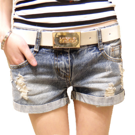2015 New Women Slim Thin Bead Hole Denim Shorts Fe...
