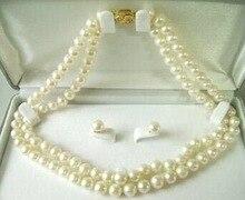 """De la mujer 7-8mm agua salada Rare Perla Del Pendiente Del Collar 17 """"palabra de mujer para las mujeres 925 joyas de plata fina calidad naturaleza fresca"""