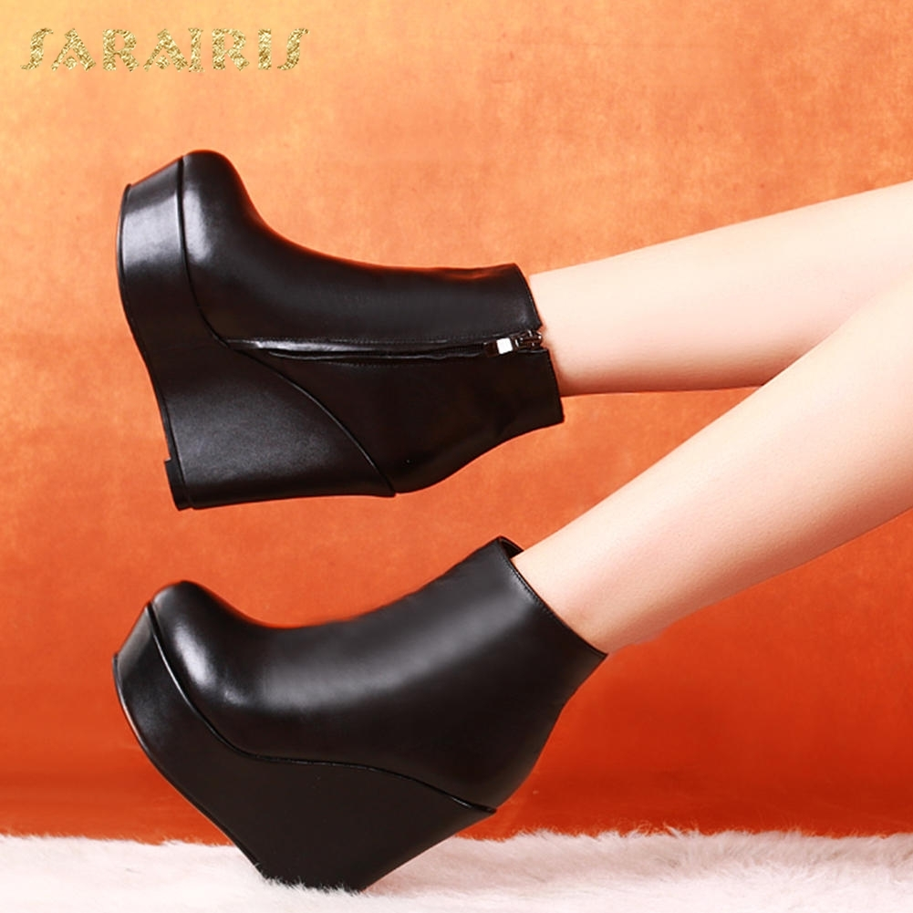 SARAIRIS Plus Size 33-40 2018 Fashion Wedge High Heels Zip Up Women Shoes Woman Boots Black Ankle Boots Shoes Woman