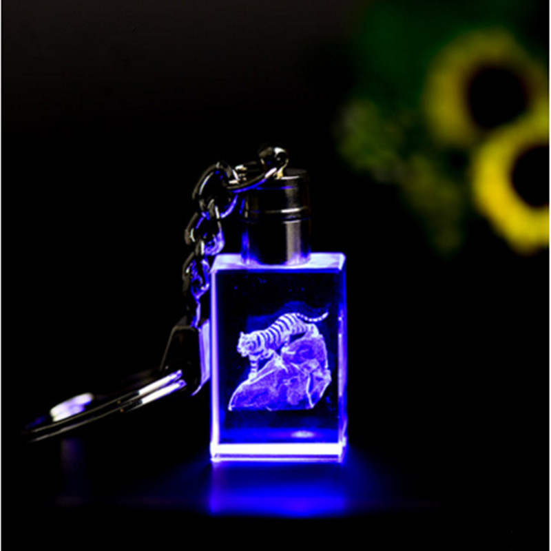 Crystal Twelve Chinese Zodiac Signs Key Chain with LED Light Glass Craft Ornaments for Gifts Mascot or Souvenir Home Decoration