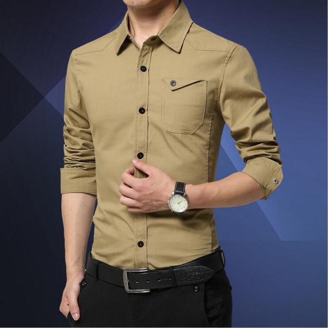 Hot!Men Shirt 2016 Simplicity Shirt Men Brand Business Casual Long Sleeve Square Collar Fashion Men Dress ShirtMen Clothes5Color