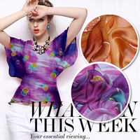 135cm wide two color paint flower print silk chiffon fabric material