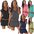Women's Summer Casual V Neck Sleeveless Beach Shorts Jumpsuits Playsuits without Belt