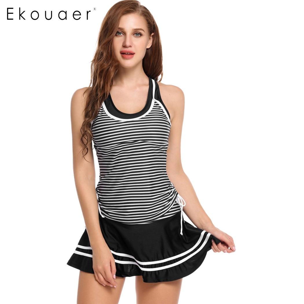 Ekouaer Women Padded Striped Tankini Skirted Bottom 2 Pieces Bikini Set Contrast Color Patchwork Swimsuit Slim Push Up Swimwear