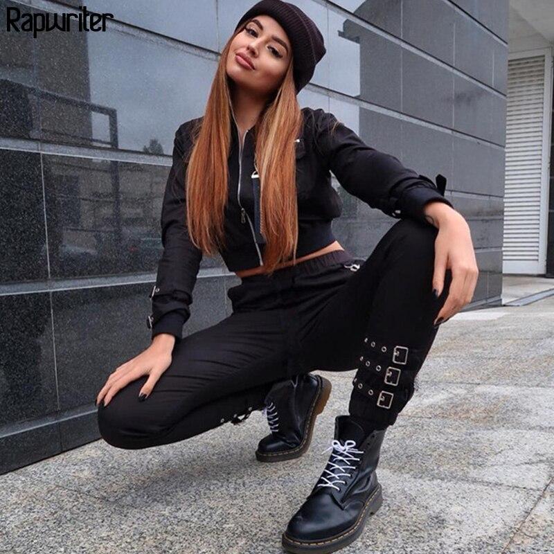 Rapwriter Punk Style Adjustable Buckle Side Big Pocket Elastic High Waist Pencil Pants Women 2018 Autumn Cargo Jogger Pantse