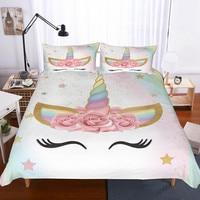 Fanaijia 3d flower unicorn bedding set queen size Cartoon kids Duvet Cover Bed Set Bedclothes twin bed sets