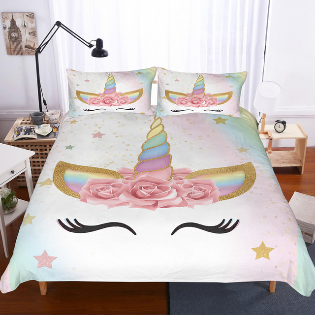 . US  29 4 40  OFF Fanaijia 3d flower unicorn bedding set queen size Cartoon  kids Duvet Cover Bed Set Bedclothes twin bed sets in Bedding Sets from Home