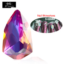 10pcs In a Pack Crystal AB Chameleon Shield Nail Art Rhinestones DIY Alloy Charm Jewelry Manicure Decoration Tools
