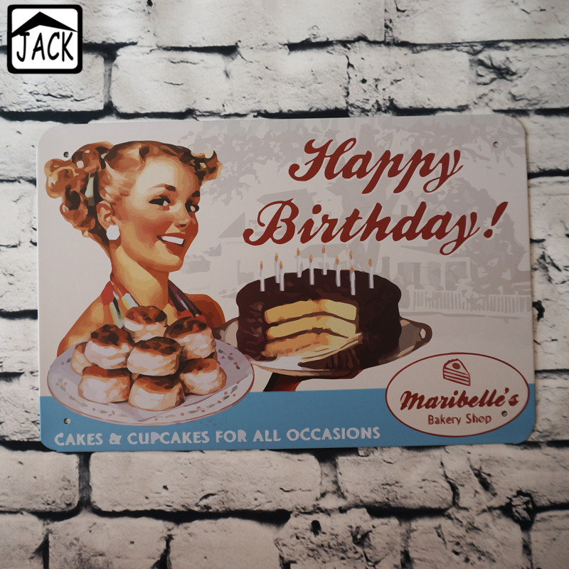 happy birthday bakery shop cakescupcake 20x30cm vintage plate metal tin signs wall decor bar club barn - Bedroom Wall Plaques