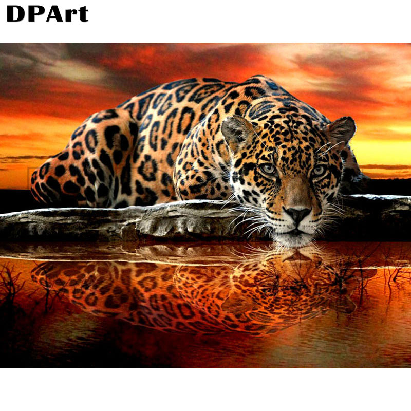 Diamond Painting 5D Full Square/Round Leopard Animal Daimond Mosaic Rhinestone Embroidery Cross Stitch Crystal Picture Gift M143(China)