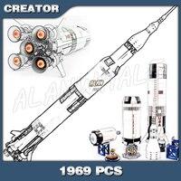 1969pcs Apollo Saturn V Space Launch Vehicle USA Rocket Figure Building Blocks Assemble Children Boys Toy Compatible