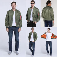Men S Casual Air Jacket Zipper Army Flight Bomber Jacket Coat Outwear