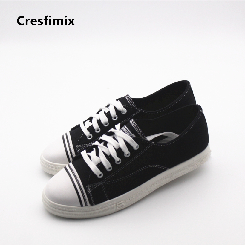 Cresfimix women casual canvas flat shoes lady cute lace up outdoor shoes female spring and autumn comfortable shoes zapatos e toy word canvas shoes women han edition 2017 spring cowboy increased thick soles casual shoes female side zip jeans blue 35 40