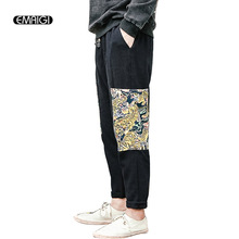 China style printed cotton linen men trousers elastic waist loose harem pant high quality flax pant plus size M-5XL