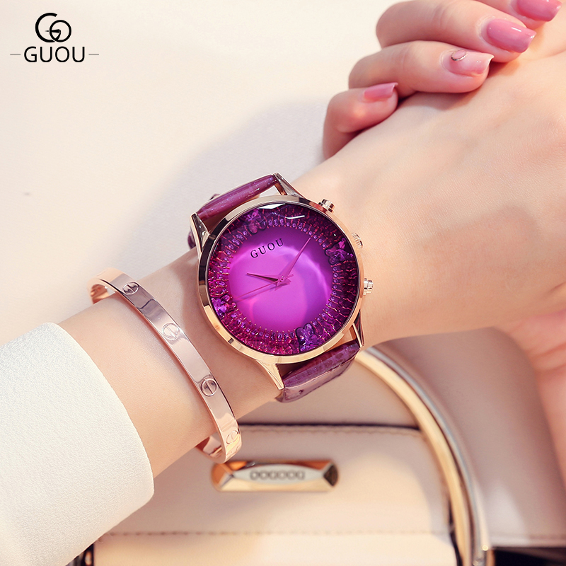 GUOU Brand Relojes mujer Luxury Rhinestone Quartz Watch Women Watches Genuine Leather Ladies Watch Clock saat relogio feminino dgjud new fashion casual watches women quartz watch leather watch strap ladies hodinky relogio feminino relojes mujer 2016 clock