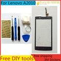 Livre ferramenta diy + 100% original novo para lenovo a2010 tela sensor de vidro da tela de toque capacitivo tela preta para lenovo a2010