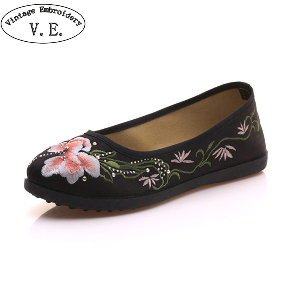 Women Shoes Flats Flower Embroidered Canvas Ballets Flats Vintage Chinese Comfort Casual Soft Cotton Shoes For Woman chinese women flats shoes vintage boho