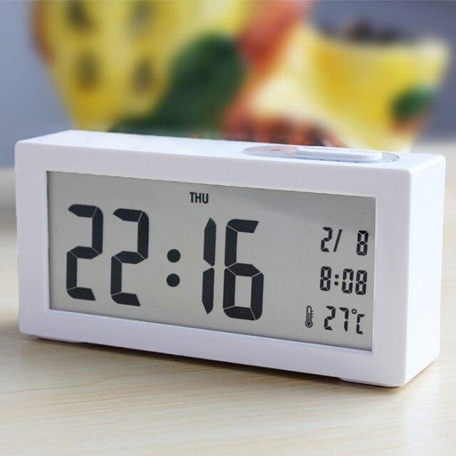 Modern Light Sensor Large-Display Backlight Digital Alarm Clock Electronic Desk Table LED Clock HG99