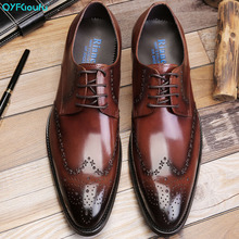 QYFCIOUFU High Quality Pointed Toe Brogue Shoes Mens British Style Fashion Loafers Handmade Lace-up Wedding Italian Dress