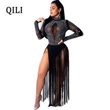 QILI New Hot Diamonds Rhinestone Dress For Women Long Sleeve Tassel Dresses Sexy Mesh Patchwork Maxi Female