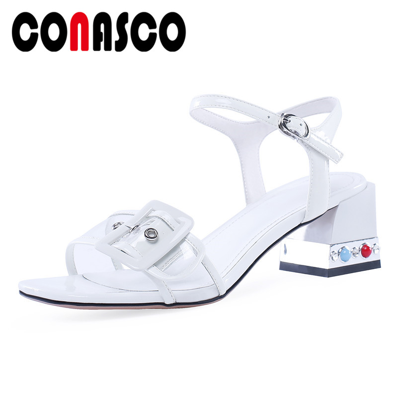 CONASCO Fashion Solid Patent Leather Buckle Women Sandals 2019 Summer New Basic Shoes Woman Party Casual Square Toe High HeelsCONASCO Fashion Solid Patent Leather Buckle Women Sandals 2019 Summer New Basic Shoes Woman Party Casual Square Toe High Heels