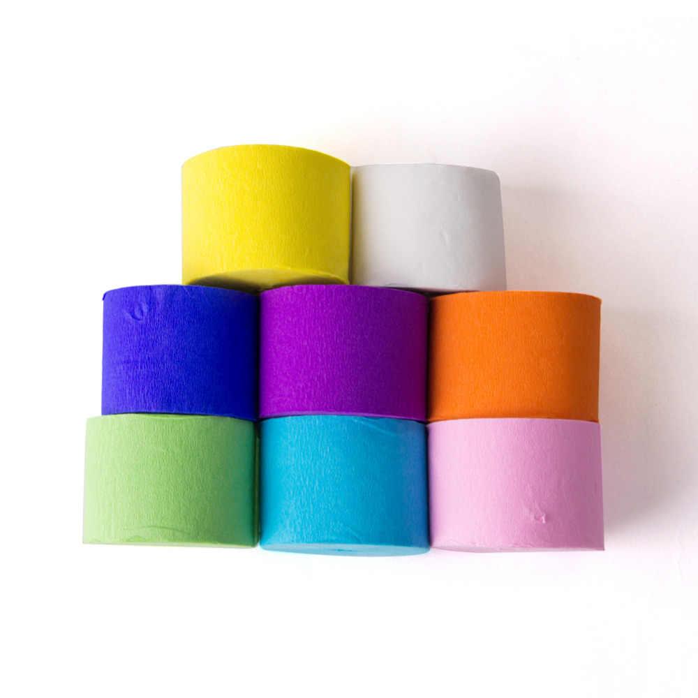 ใหญ่! ยาว 25 เมตร Crepe กระดาษ Streamers Garland งานแต่งงานตกแต่งเด็กวันเกิด Rainbow อุปกรณ์ฝักบัว
