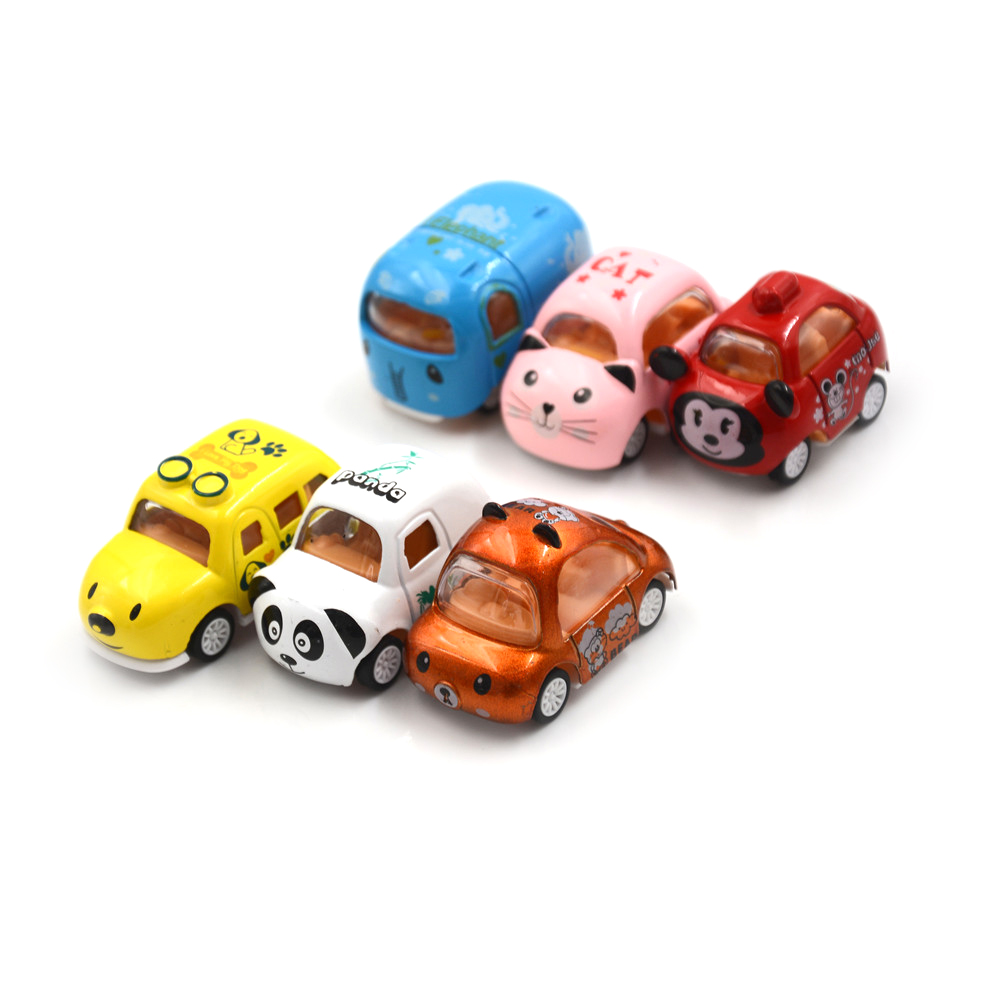 1:64 Cute Cartoon Elephant Cat Bear Dog Panda Mini Alloy Car Model Inertia Car Toy Education Kids Toys Children Birthday Gifts