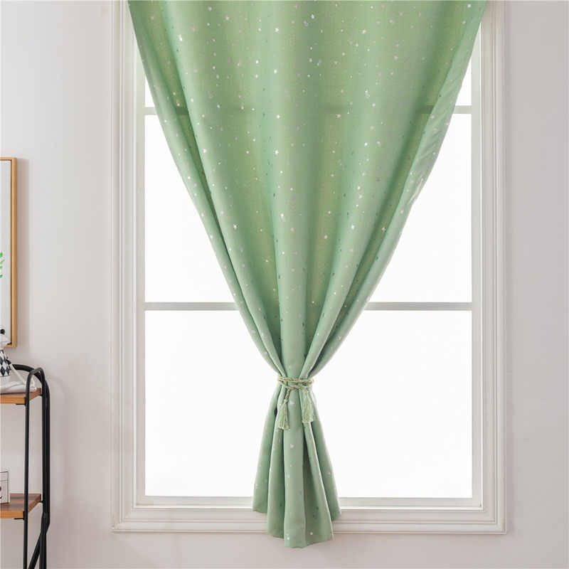 Luxury Hot Silver Stars Blackout Curtains Free Double Face Velcro Sheer Curtain Home Window Curtains for Bedroom Living Room