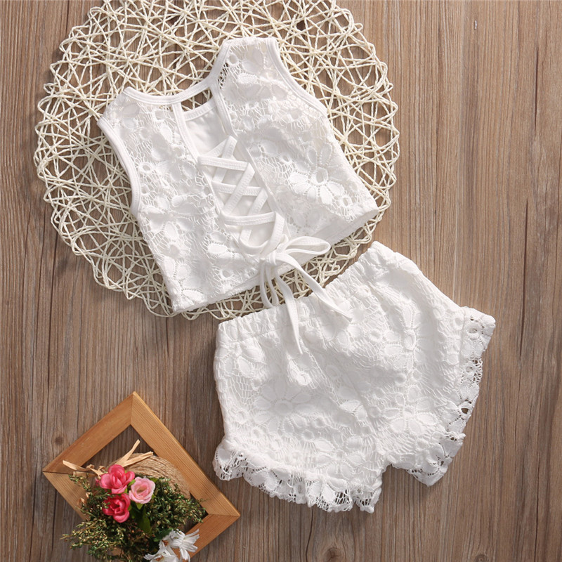 Sweet Toddler Kid Baby Girls Sleeveless Lace Crochet Bow Back Tops Lace Floral Shorts 2PCS White Summer Set Clothes Outfits 2-7T 0 24m floral baby girl clothes set 2017 summer sleeveless ruffles crop tops baby bloomers shorts 2pcs outfits children sunsuit