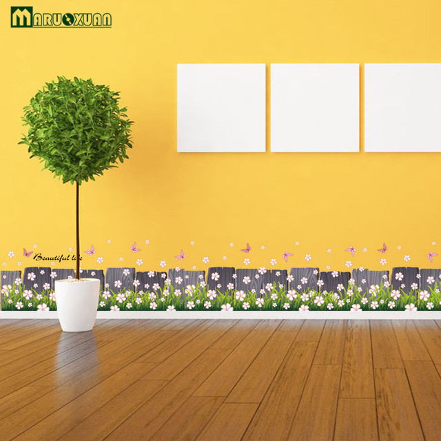New Pink Flowers Butterflies Fences Baseboard Wall Decals Home ...