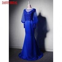 Lange Hülsen-spitze Meerjungfrau Abendkleider Partei Perlen Schöne Frauen Royal Blue Formale Abendkleider Kleider Auf Verkauf