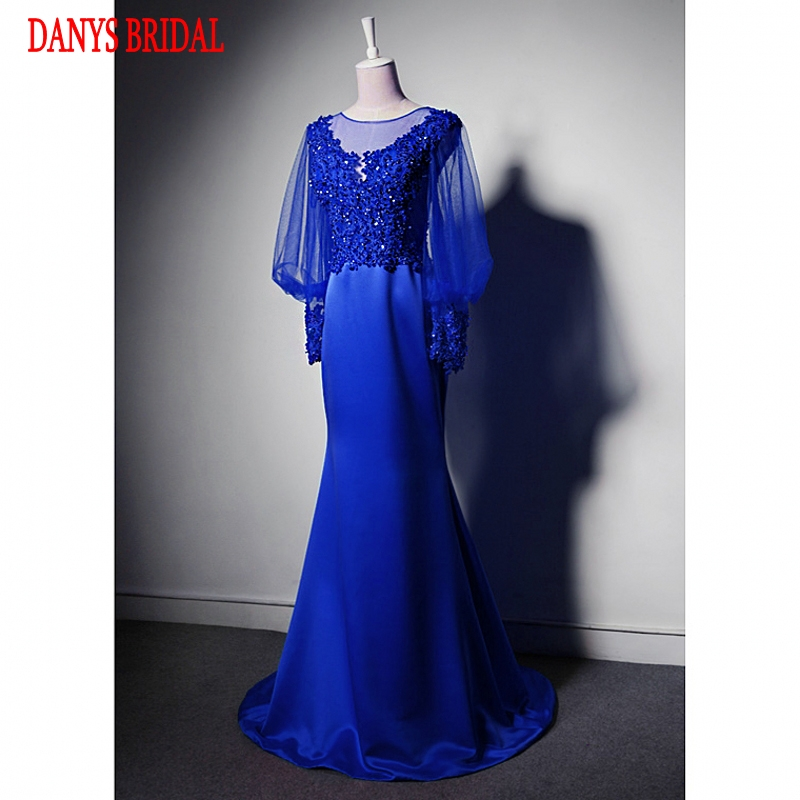 Long Sleeve Lace Mermaid Evening Dresses Party Beaded Beautiful Women Royal Blue Prom Formal Evening Gowns Dresses On Sale