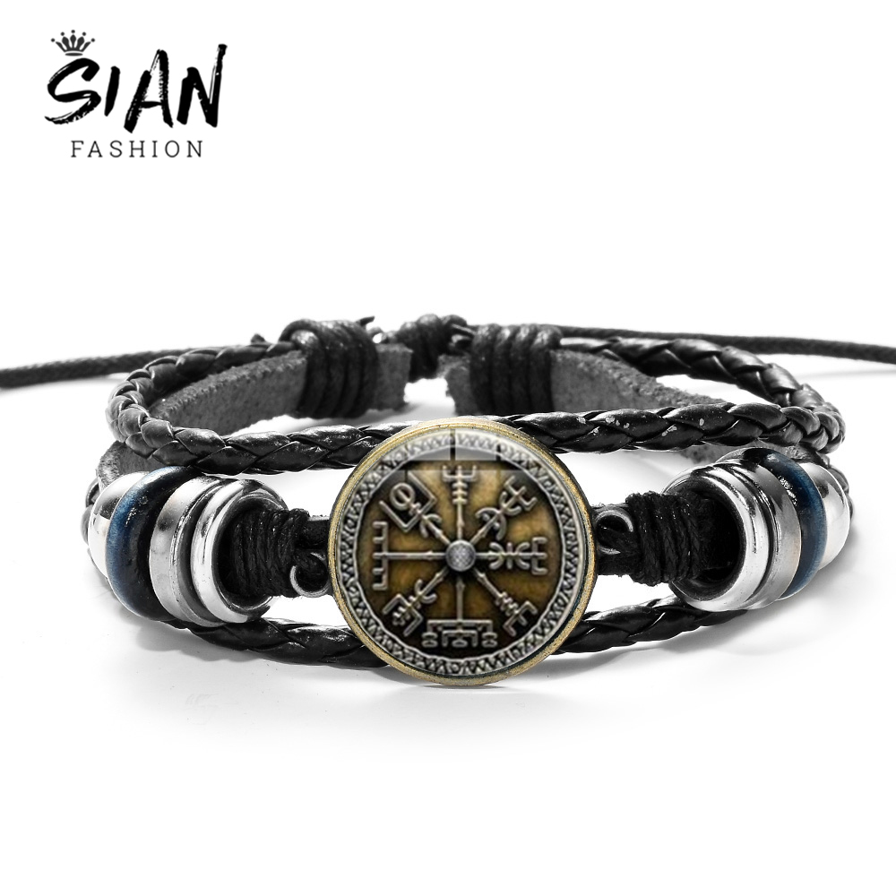 SIAN Viking Compass Multilayer Wood Bead Bracelet Men Casual Fashion Braided Leather Bracelets Bangles Retro Punk Wrap Wristband(China)