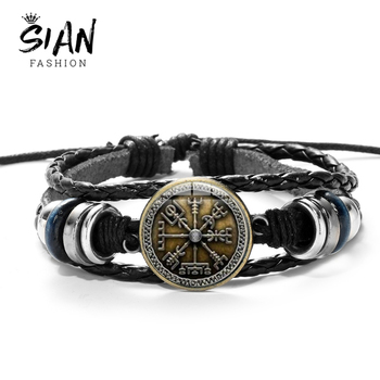 SIAN Viking Compass Multilayer Wood Bead Bracelet Men Casual Fashion Braided Leather Bracelets Bangles Retro Punk Wrap Wristband jiayiqi men multilayer braided leather bracelet stainless steel magnetic clasp bangles fashion punk male jewelry