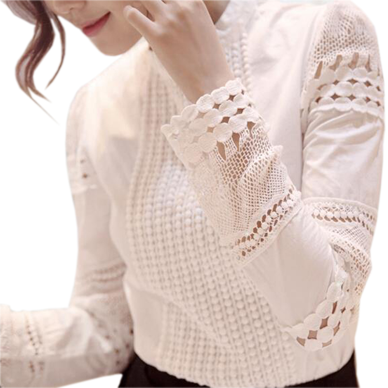 S-5XL Autumn Women's Shirts White Long-sleeved Blouses Slim Basic Tops Plus Size Hollow Lace Shirts Female High Quality J2531 1