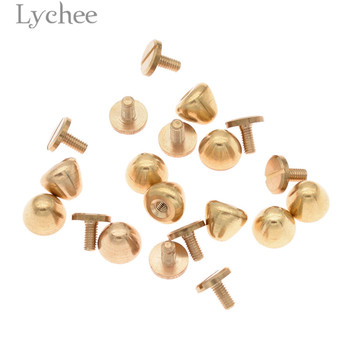 Lychee 10pcs Solid Brass Rivet and Screws Clothing Bag Jeans Accessories DIY Handmade Sewing Supplies general supply
