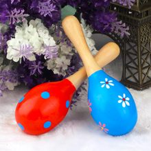 Hot! Kids Baby Wooden Toy Maracas Rumba Shakers Musical Party Rattles New Sale(China)