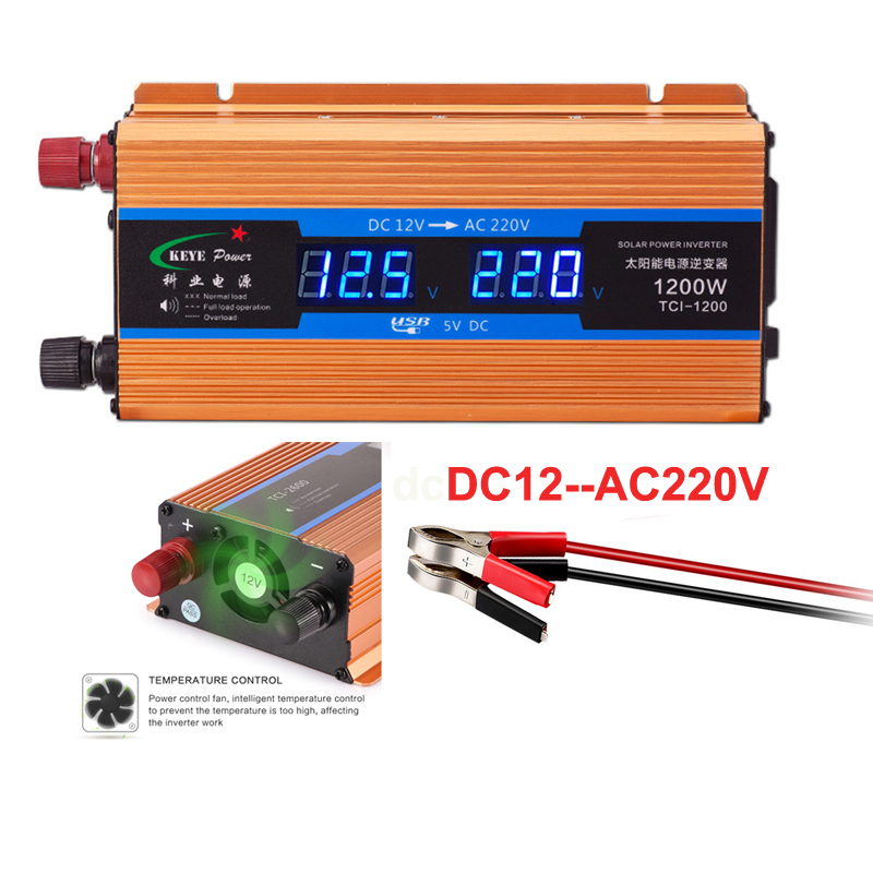 Professional 1200W Car inverter <font><b>12</b></font> <font><b>V</b></font> <font><b>220</b></font> <font><b>V</b></font> Voltage <font><b>Converter</b></font> 12v <font><b>to</b></font> 220v Car Charger Volts display CY892 image