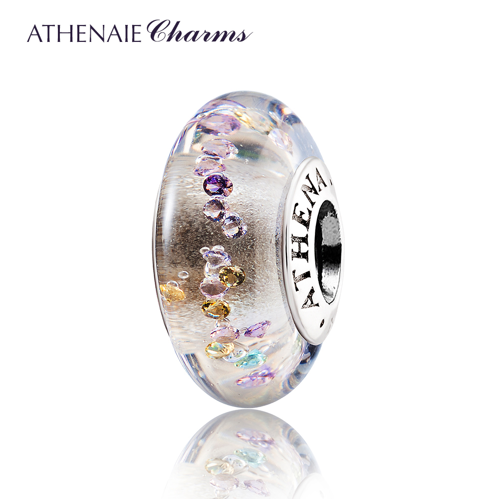 ATHENAIE Genuine Murano Glass 925 Silver Core Effervescence Colored Clear CZ Charm Bead Fit All European Bracelets