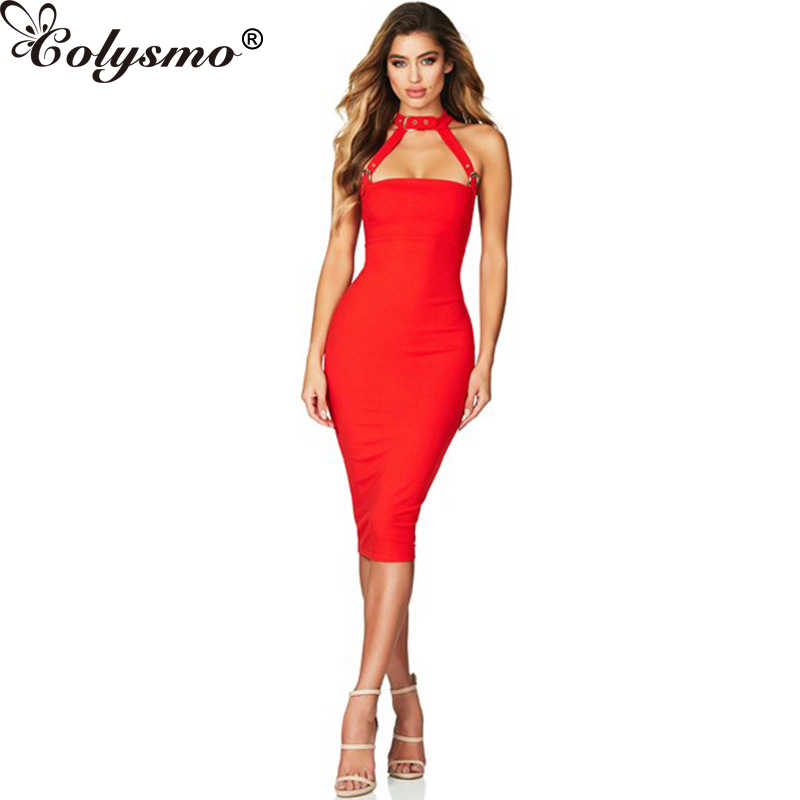 4b9202ee1d Colysmo Summer Dress For Women Strapless Sexy Dresses Female Halter Skinny Backless  Party Dress Women New