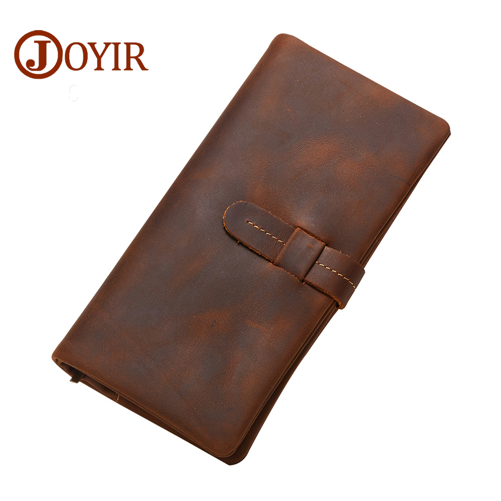 JOYIR New Arrival Men Genuine Leather Wallet Purse Long Hasp zipper wallet Handbag Clutch Bag Coin Purse Money Card Holder 2034