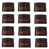 12pcs 20g Amber Glass Cream Jars Cosmetic Packaging With Lid Black Plastic Caps Inner Liners Round
