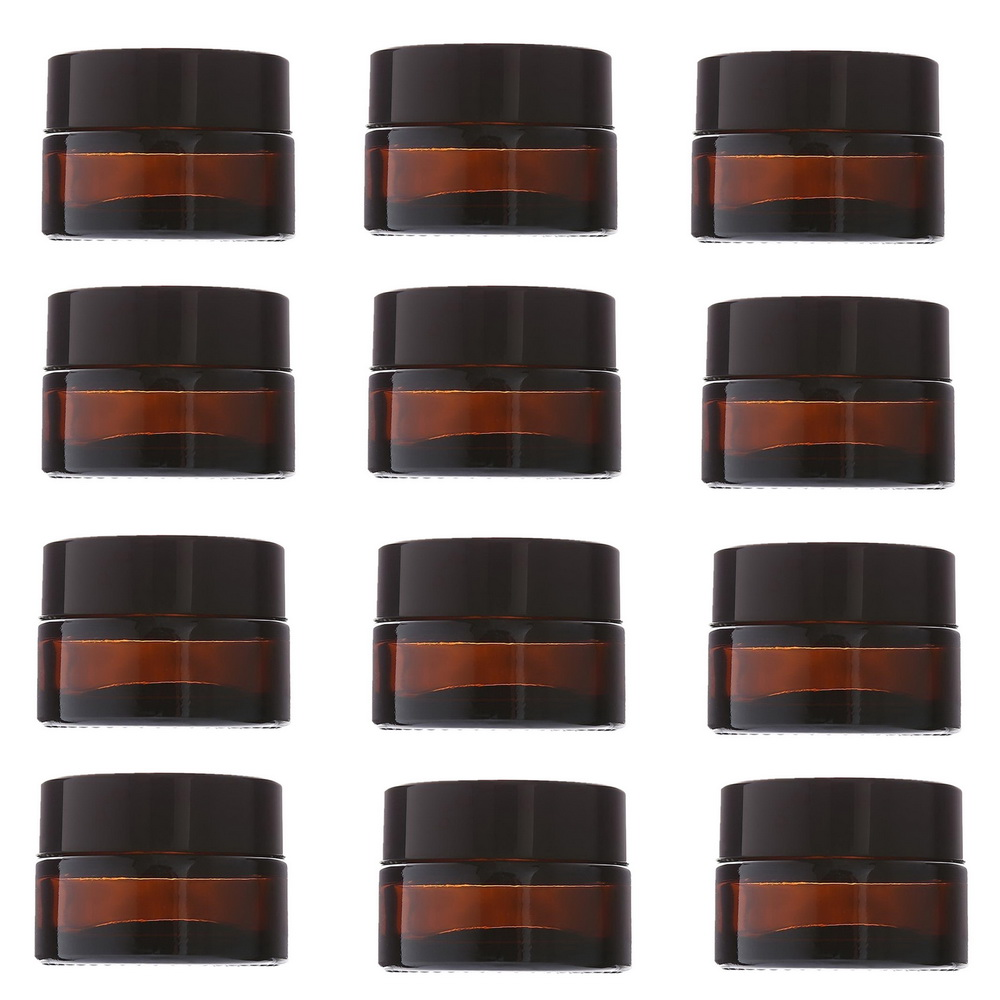 12pcs 20g Amber Glass Cream Jars Cosmetic Packaging with lid black plastic caps & inner liners round empty small glass jar pot 200pcs x 200g big frosted abs plastic cosmetic packaging bath salt jar with wooden spoon